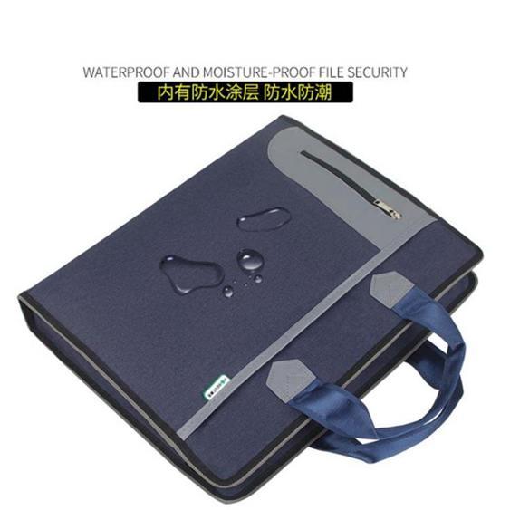 文件袋帆布A4側寬大容量男公文包手提袋多層商務包資料會議袋康百