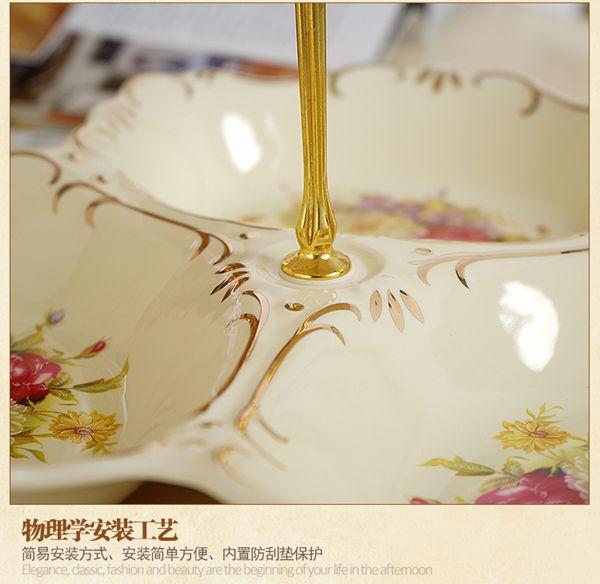 【618購物狂歡節】水果盤 陶瓷雙層水果盤現代創意客廳歐式點心盤多層干果盤零食盤子糖果盤