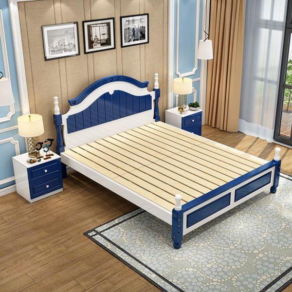 實木床 實木現代簡約單人雙人床1.2北歐式公主床架1.5m1.8米主臥美式家具