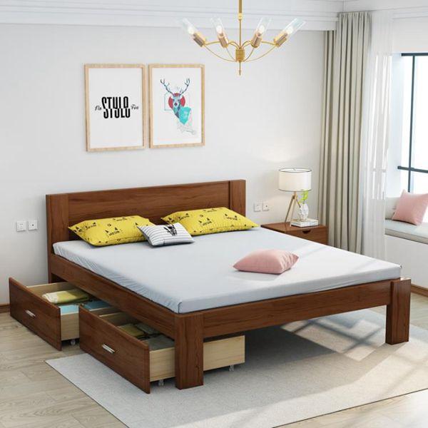 【618購物狂歡節】實木床 北歐全實木床1.8米雙人床1.5m現代簡約主臥床1.2單人床木板大床
