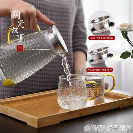 陶瓷故事加厚冷水壺玻璃耐高溫家用創意北歐風涼水壺白開水杯套裝全館促銷限時折扣