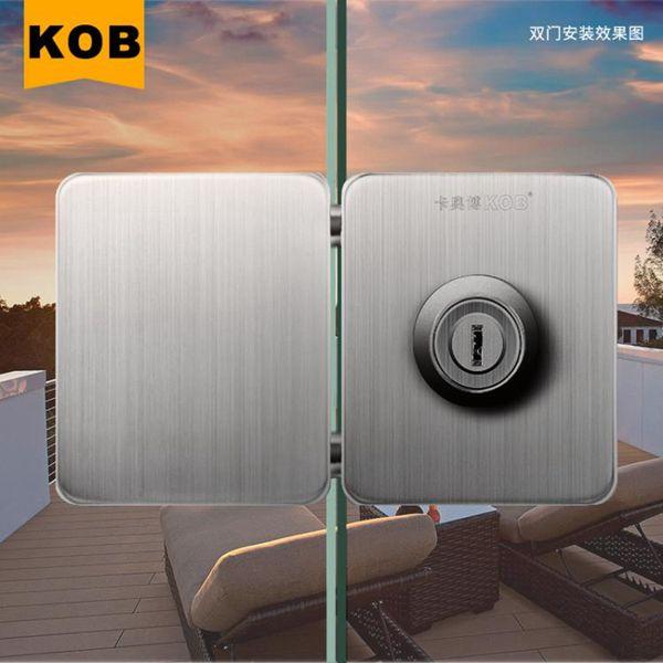 門鎖KOB免打孔推拉玻璃門鎖不銹鋼簡易門鎖單門雙門中央鑰匙鎖免開孔
