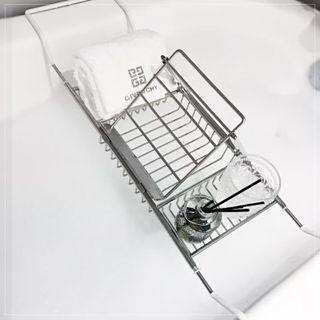 【618購物狂歡節】浴缸架 不銹鋼浴缸架子衛生間浴室置物架伸縮泡澡手機支架浴缸置物架