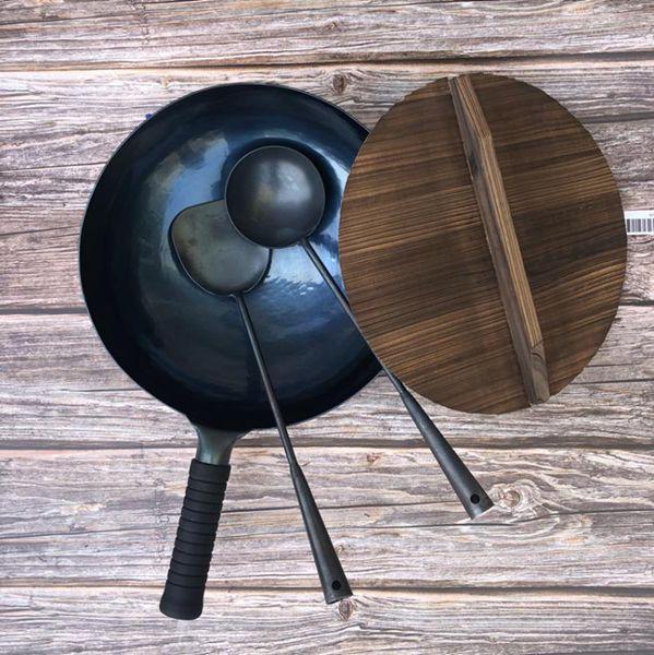 宗師手打章丘鐵鍋官方旗艦手工鍛打炒鍋老式家用無涂層鐵鍋不粘鍋