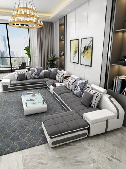 北歐布藝沙發客廳整裝簡約現代大小戶型輕奢風格皮布沙發組合家具全館促銷限時折扣