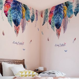 【618購物狂歡節】浪漫羽毛壁紙自黏臥室溫馨牆壁貼畫客廳沙發背景牆餐廳玄關牆貼紙