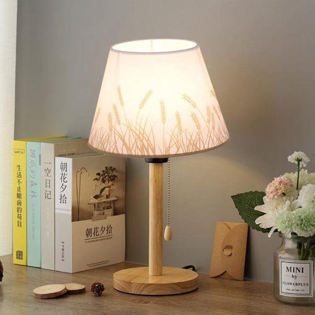 【618購物狂歡節】桌燈床頭燈臥室溫馨浪漫簡約拉繩LED燈實木日式書房網紅小檯燈全館免運限時優惠