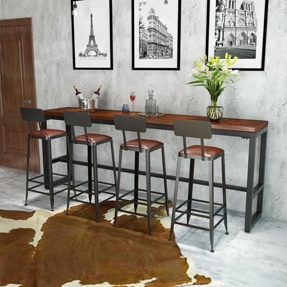 吧台桌實木家用客廳隔斷櫃木板奶茶店小桌椅組合靠牆高腳桌簡約