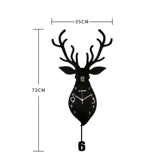 掛鐘北歐鹿頭鐘錶掛鐘客廳家用創意時尚個性掛錶現代大氣裝飾靜音時鐘