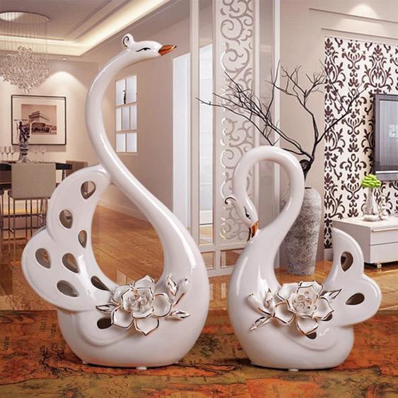 創意擺設創意家居軟裝酒櫃擺設結婚禮物客廳裝飾櫃擺件陶瓷擺設描金天鵝
