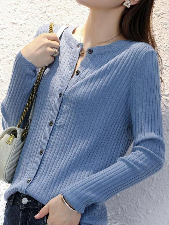 針織外套 秋冬女士外搭針織開衫圓領外套寬鬆時尚短款非羊絨打底衫 牛年新品全館免運