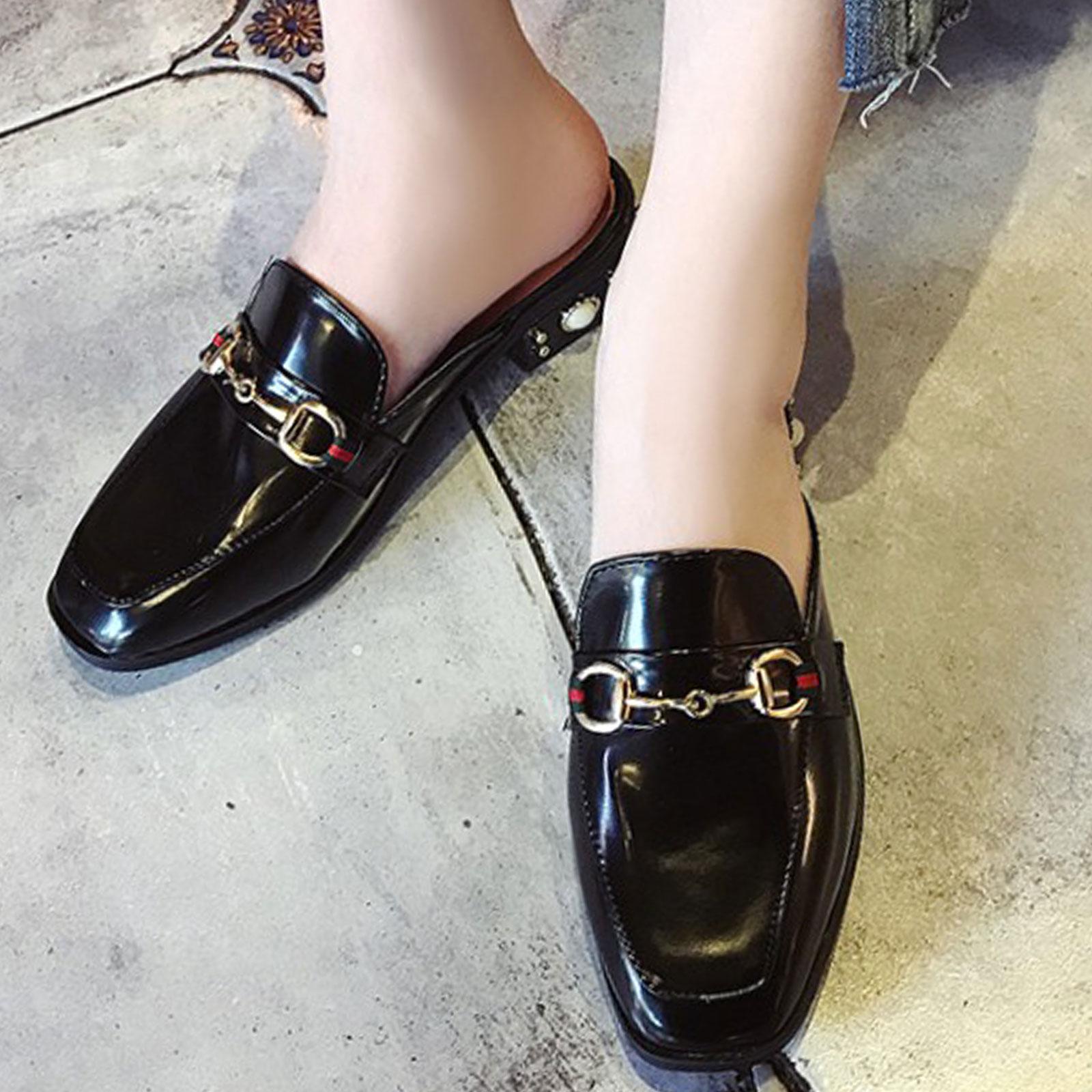 懶人鞋 淺口珍珠裝飾方頭粗跟半拖鞋【S1693】☆雙兒網☆ 2