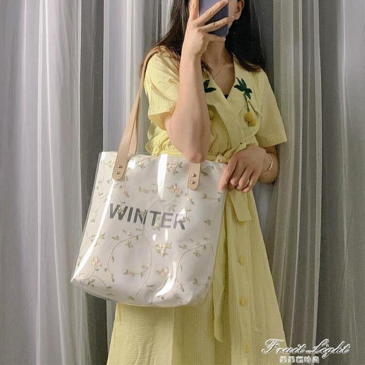 手提包包女2020夏季新款潮韓版百搭側背包大容量托特包果凍透明包  閒庭美家