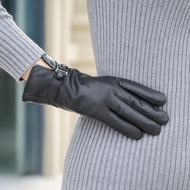 真皮手套保暖手套-羊皮加厚加絨黑色女手套73wm72【獨家進口】【米蘭精品】 1