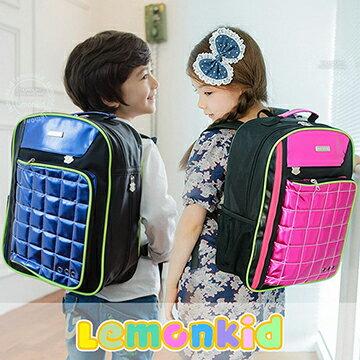 Lemonkid◆奢華酷炫亮面菱格 背帶螢光條兒童書包雙肩包後背包