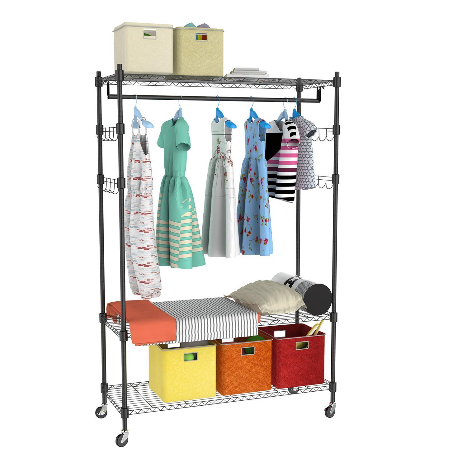 Portable 3-Tier Wire Shelving Clothes Shelf Garment Rack with Side Hooks and  Wheels 4