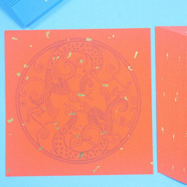 灑金單字圖驣紅紙 DIY空白春聯紙 門聯 14cm x 14cm/一包100張入{定150}