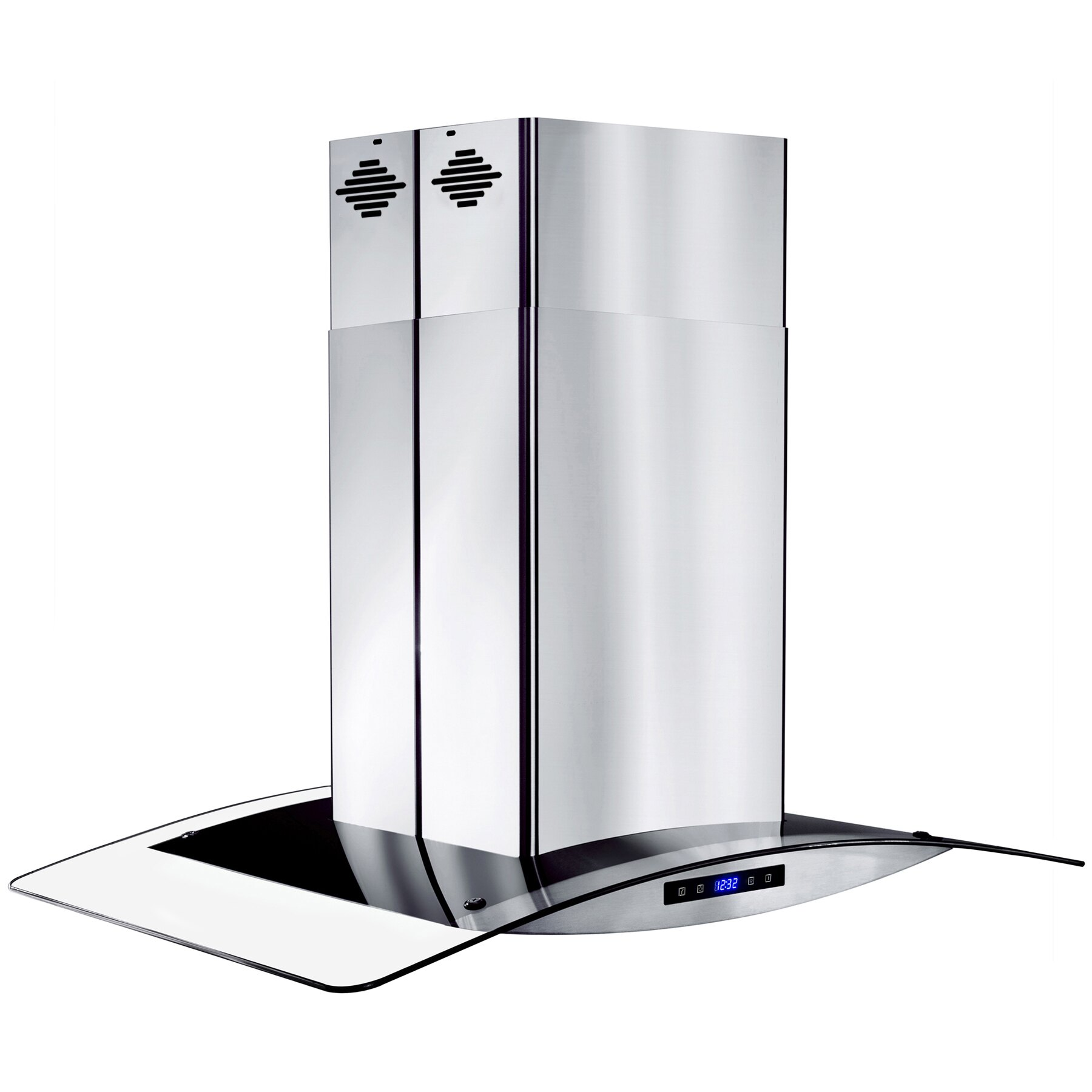 """AKDY 30"""" Island Mount Stainless Steel Tempered Glass Touch Panel Kitchen Range Hood Cooking Fan 5"""
