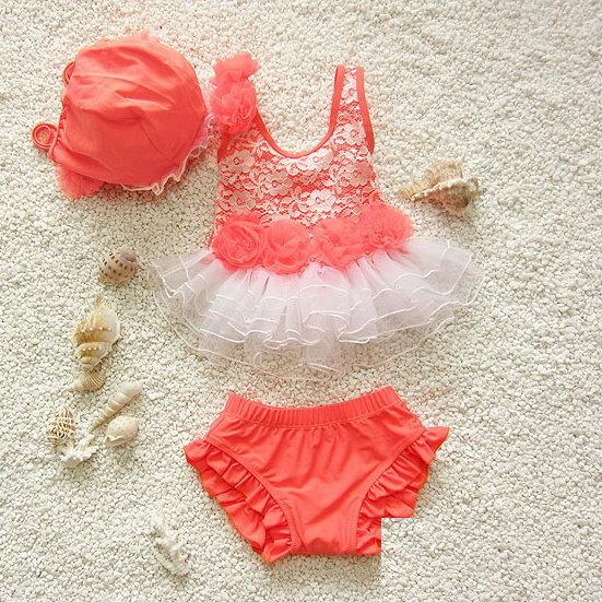 大小女童韓國寶寶嬰幼兒夏季可愛蕾絲比基尼分體式兒童泳衣+泳帽三件套(橘紅色款)