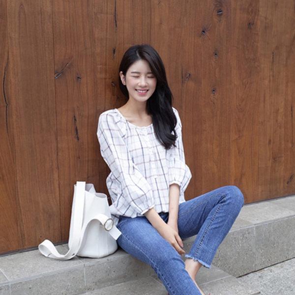 <br/><br/>  PS Mall  韓版圓領格子襯衫 上衣【T1628】<br/><br/>