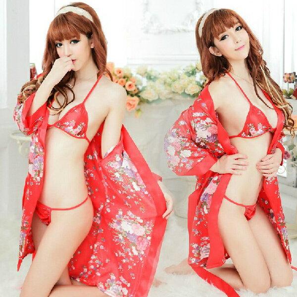 紅色開襟和服 性感和服 印花和服 SML三段 三點式內衣 日式 COSPLAY 角色扮演