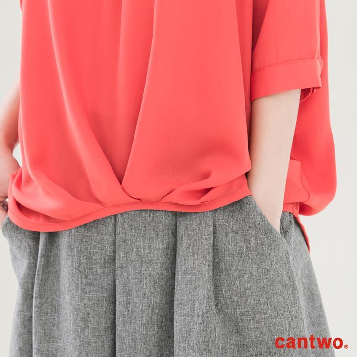 cantwo弧襬五分袖雪紡襯衫(共三色) 5