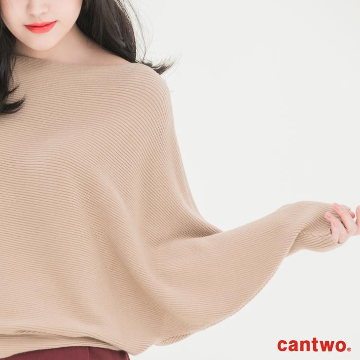 cantwo素色船型領蝙蝠袖針織上衣(共二色) 4