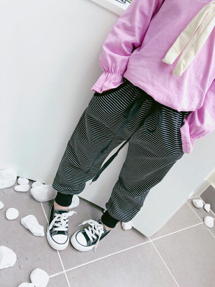 2019春秋季男女童寶寶條紋休閑褲 中小童寬松舒適兒童束腳蘿卜褲1入