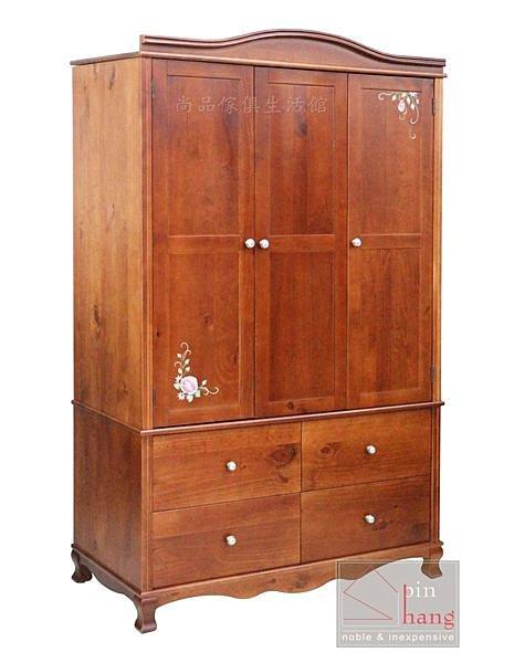 【尚品傢俱】415-10 洛可 松木全實木4*7尺彩繪衣櫃/衣櫥/收納櫃/衣物整理櫃