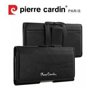 MEEKEE SHOP:[SamsungS6S6edgeLGG3]PierreCardin法國皮爾卡登5.1吋極致品味橫式腰掛真皮手機套保護套皮套黑色