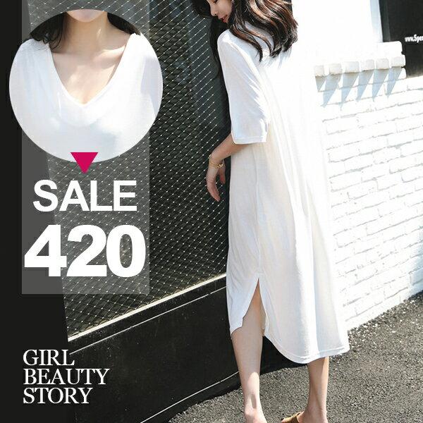 SISI【D7166】輕鬆休閒韓版V領超寬鬆純色長款開叉中袖T恤連身長裙洋裝