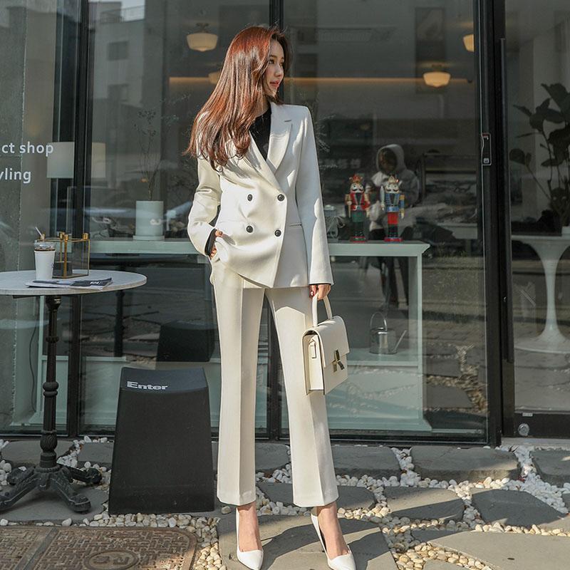 西裝套裝西裝外套+長褲(兩件套)-休閒雙排扣時尚職業女西服3色73xs9【獨家進口】【米蘭精品】