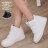 格子舖*【AJ37068】MIT台灣製 蕾絲拼接皮革 熱賣完美單品 方便好穿脫魔鬼氈 內增高3CM高筒球鞋運動鞋 2色 0