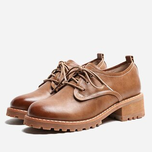 LINAGI里奈子【K942-6824】韓英倫皮鞋百搭復古中跟女單鞋