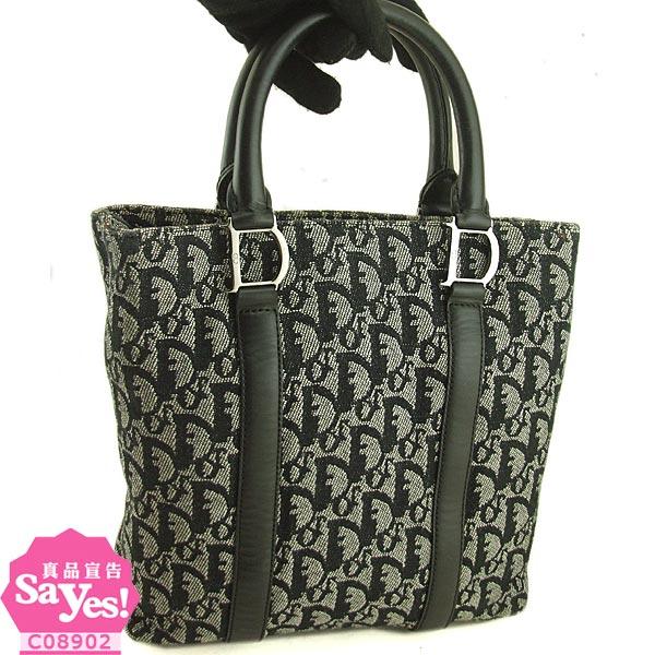 【奢華時尚】DIOR 黑色Logo緹花布面手提小購物包(八五成新)#19818
