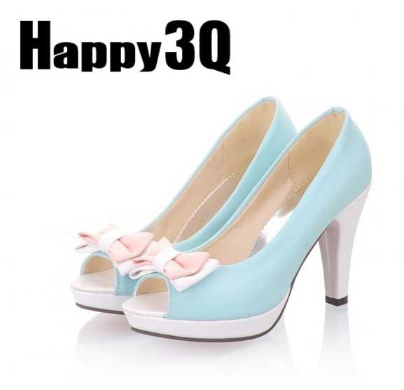 蝴蝶結拼色粗跟馬卡龍魚口高跟鞋-米/藍/粉/白33-43【AAA0168】