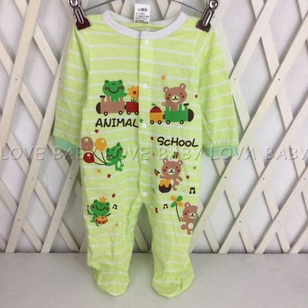 ☆╮寶貝丹童裝╭☆ 台灣製造 男女寶寶 可愛 青蛙 圖案 長袖 BABY 美式連身衣 前開扣 包腳 連身裝