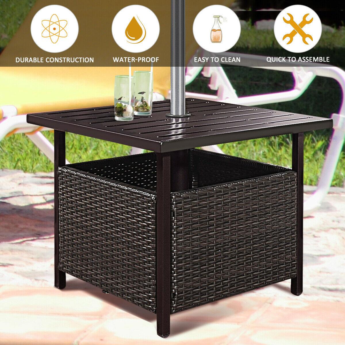 Costway Brown Rattan Wicker Steel Side Table Outdoor Furniture Deck Garden  Patio Pool