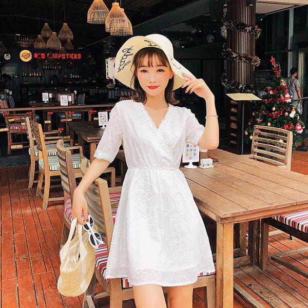 短袖洋裝蕾絲刺繡雪紡V領及膝裙短袖洋裝連身裙【NDF6283】BOBI0510