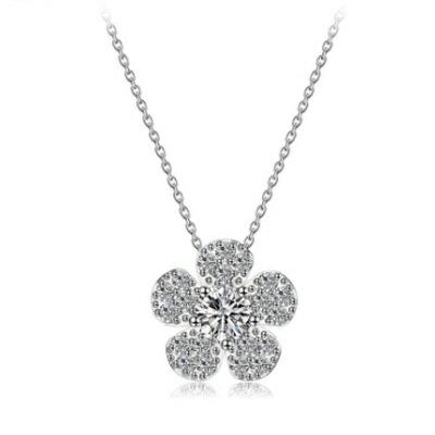 ~925純銀項鍊 鍍白金鑲鑽吊墜~可愛迷人花朵 情人母親節 女飾品3色73ct45~ ~~