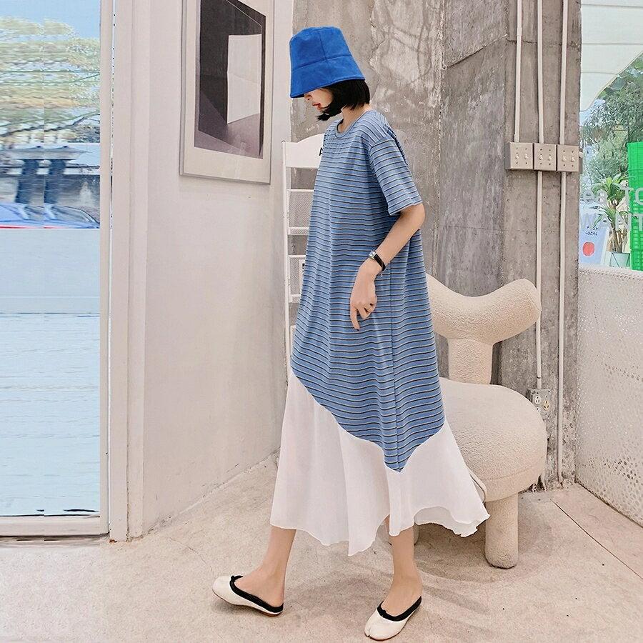 洋裝 韓系春夏細條紋拼接雪紡短袖連身長裙 共2色 L-3XL 依米迦