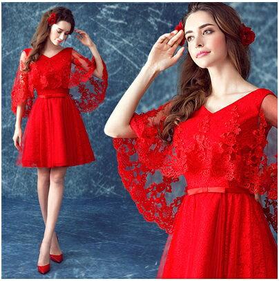 天使嫁衣【AE238】紅色蕾絲披肩V領綁帶短禮服˙下架