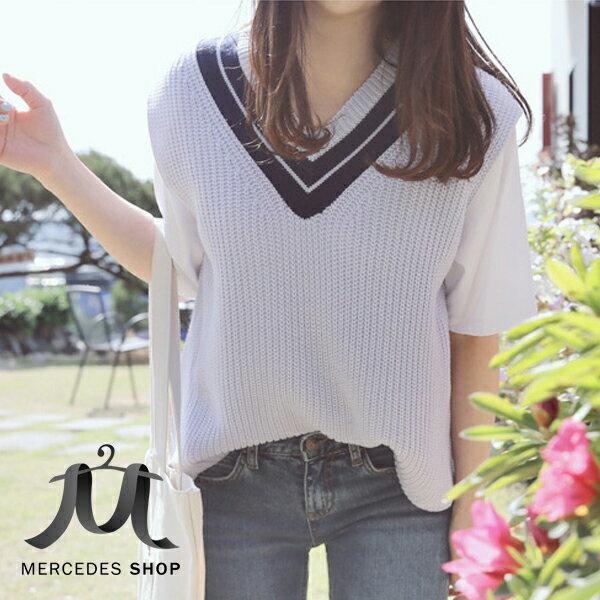 梅西蒂絲Mercedes Shop:《全店75折》韓系學院風紫色V領撞色針織衫背心(S-XL)-梅西蒂絲(現貨+預購)