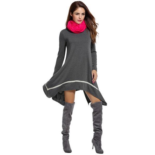 Women Casual Long Sleeve Loose Irregular Lace Hem Tunic Dress 4