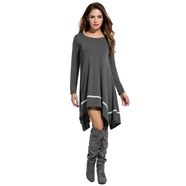 Women Casual Long Sleeve Loose Irregular Lace Hem Tunic Dress 3