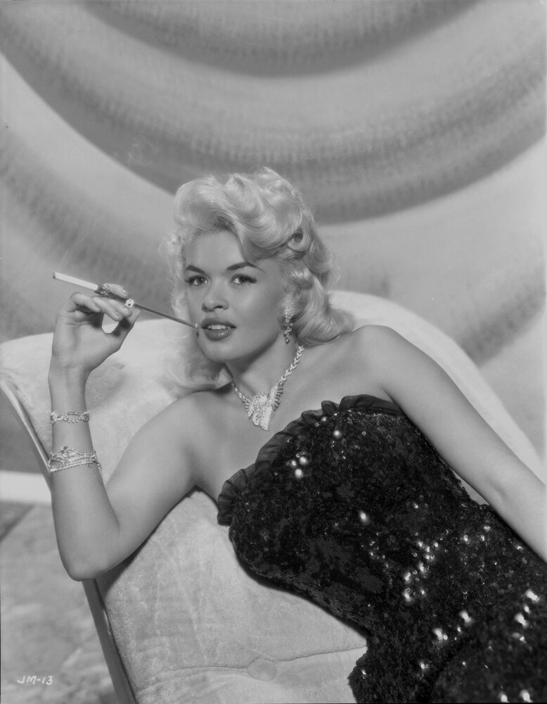 posterazzi  jayne mansfield sitting on the white silk