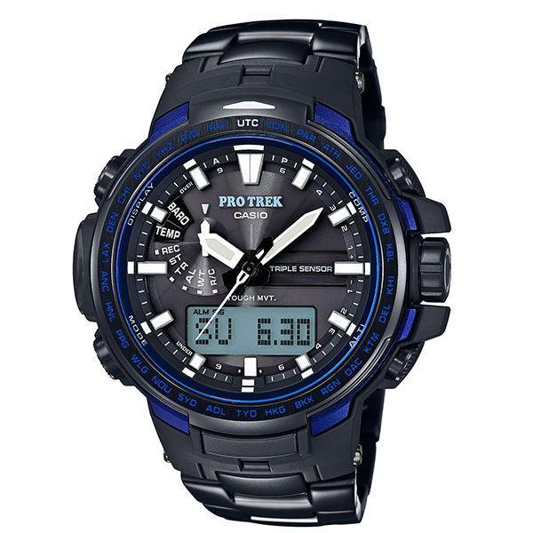 CASIO PROTREK PRW-6100YT-1B 藍黑專業登山雙顯電波腕錶/52mm