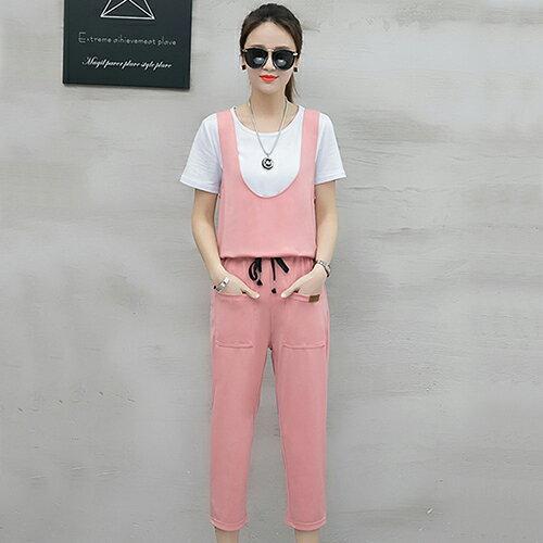 T恤+背帶七分褲兩件套(4色S~2XL)【OREAD】 2