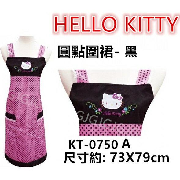 佳冠居家館 JG~台灣製 三麗鷗圍裙 黑色圓點HELLO KITTY圍裙,二口袋圍裙圍廚房圍裙咖啡廳圍裙 餐飲圍裙