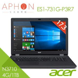 【Aphon生活美學館】ACER ES1-731G-P3R7 17.3吋 四核心 筆電(N3710/4G/1TB)-送HP DJ-1110彩色噴墨印表機(鑑賞期後寄出)